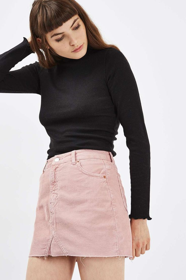 wonderful pink denim skirt outfits 11