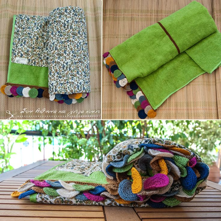 Handmade Sea Towel .... Green rolls