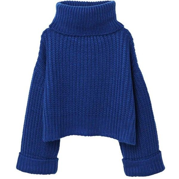 Turtle Neck Oversize Sweater ($48) ❤ liked on Polyvore featuring tops, sweaters, roll neck sweater, blue knit sweater, turtleneck sweaters, oversized sweater and short-sleeve turtleneck sweaters