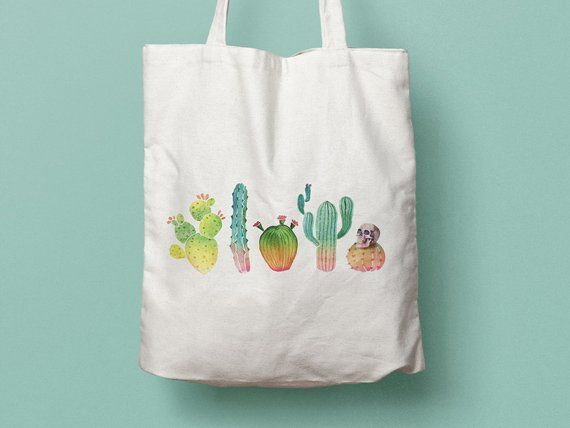 Tote Bag Cactus Sac En Coton Sac En Toile Sac De Courses Sac