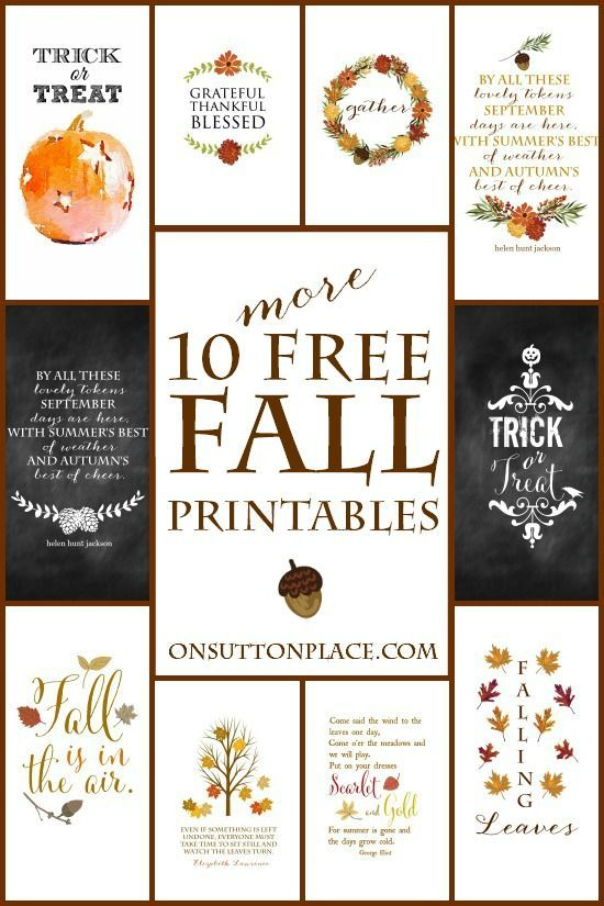 10 More Fall Printables |10 original free printables ready for instant download. Use them for DIY Wall Art, Cards, Crafts, Screensavers and more!