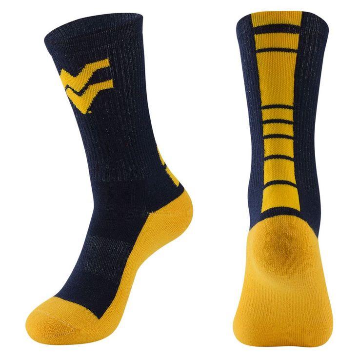 Men's Mojo West Virginia Mountaineers Champ 1/2-Cushion Performance Crew Socks, Size: 10-13, Blue (Navy)