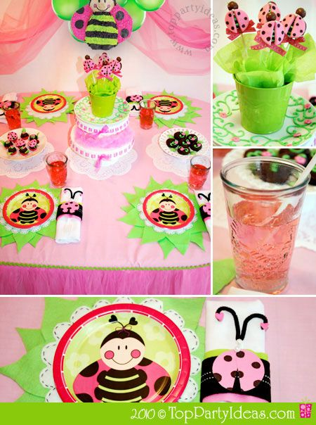 Pink Lady Bug Party - Party Table, Pink Lemonade, Ladybug Brownie Pops, Ladybug Plates and Napkin Rings