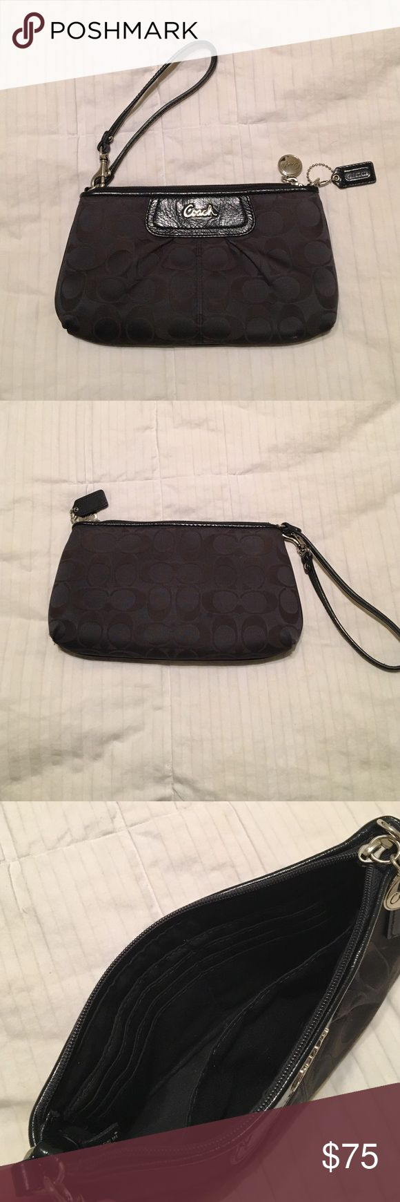 Black Coach Clutch Black Coach clutch in great condition. Only used a few times for nicer events. It has a pocket and credit card organizer inside. Strap is adjustable. Coach Bags Clutches & Wristlets