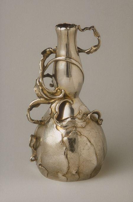 Art Nouveau silver vase by Philippe Wolfers, 1896