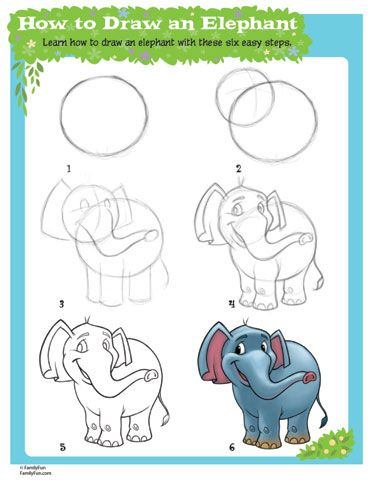 Learn How to Draw an Elephant (Printable Activity for Kids) | Spoonful - use this printable to draw an elephant. Then send your drawing and this printable to your sponsored child. Maybe they will send a drawing back to you!