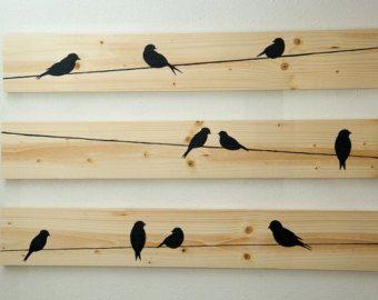 Arte della parete rustica  uccelli su un filo 3 pezzi set