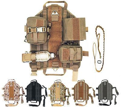 6in1 Tactical Police K9 Dog Milspec Canine Military Vest Harness + Pouch + Leash
