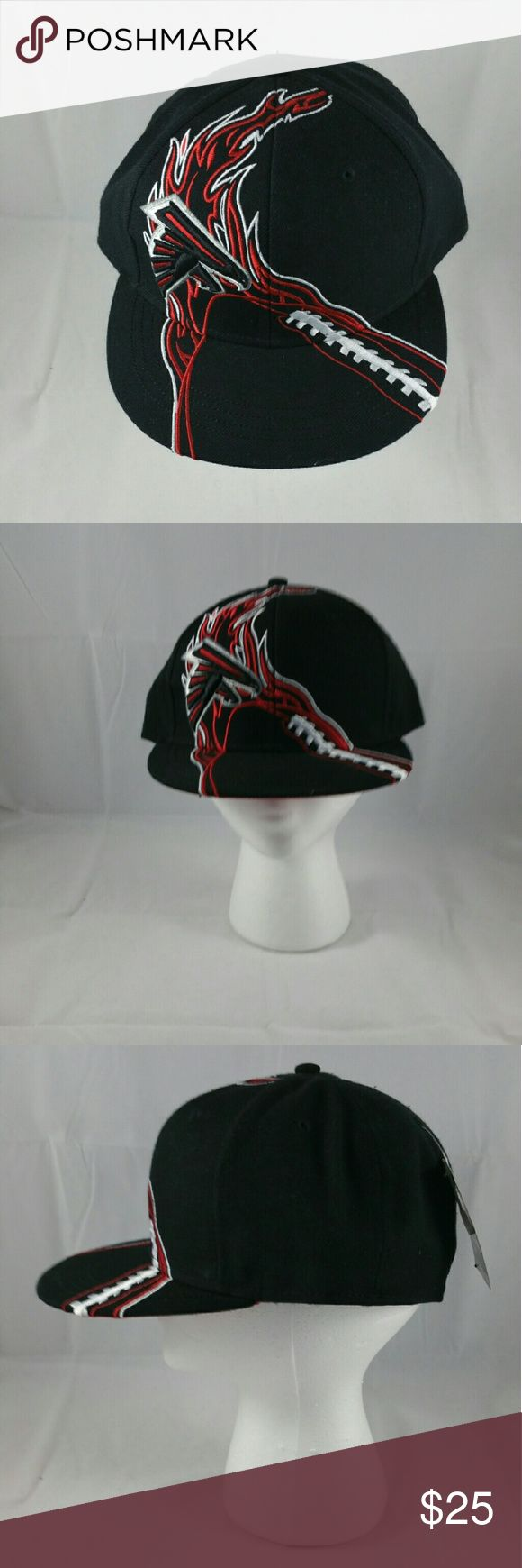 Atlanta Falcons Fitted Cap NWT Redzone Poly Flatbill Fitted Cap  Brand - NFL Team Apparel Size - 7 3/8 Stylish & durable, 100% polyester High quality appliqu? and embroidery designs High-quality 3-D front embroidered logo Custom NFL? printed inner tape. Decorated in the team colors Fitted to size Officially licensed facebook.com/CombsConnection/shop Accessories Hats
