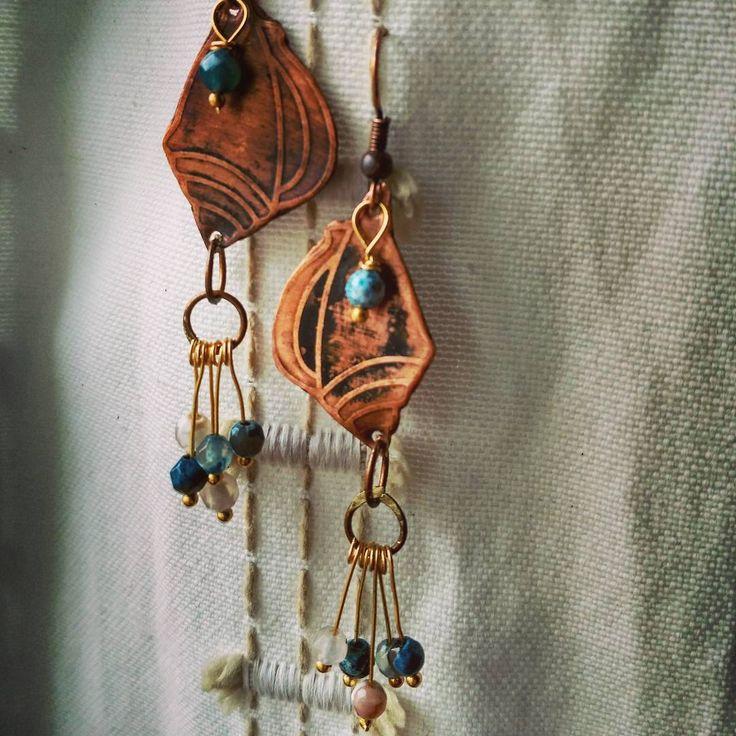 #rustikka #handmade #copper #sea#серьги #ракушки #море#лето#агаты#медь