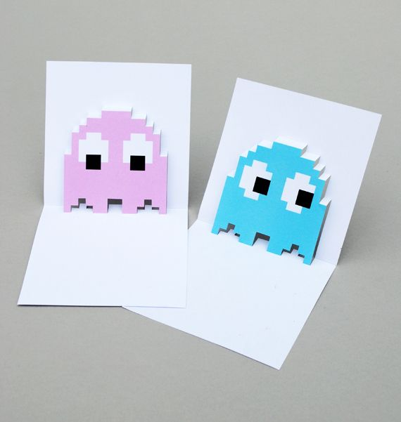 free printable | pop-up pac-man ghost cards