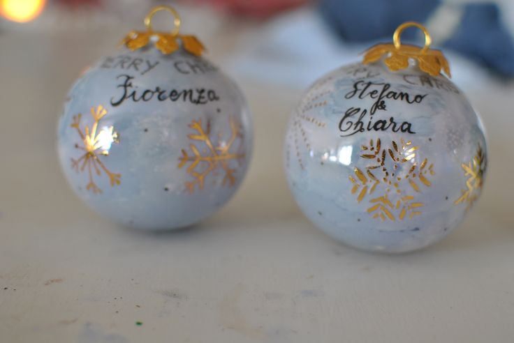 hand-painted Christmas balls on porcelain