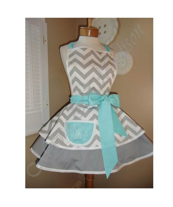 Chevron Print Accented with Aqua Blue Womans Retro by mamamadison
