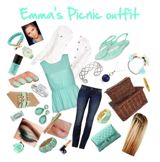 """""""Emma's picnic date outfit chapter 6"""" by starlightdreamer14 ❤ liked on Polyvore featuring Big Star, Dry Lake, Mavi, Chanel, White x White, Charlotte Russe, BP., Ilia, Maybelline and 2b bebe"""
