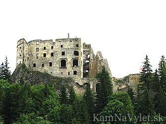 Zrúcaniny Likavského hradu stoja na jednom zo skalnatých brál na pravom brehu rieky Váh. Okres Ružomberok