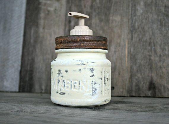Mason Jar Soap Dispenser - Annie Sloan Chalk Paint Cream - Rustic, Country, Shabby Chic, Farmhouse, Vintage Style