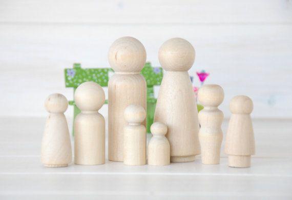 Familie van 8 houten Peg Dolls  Unfinished houten mensen