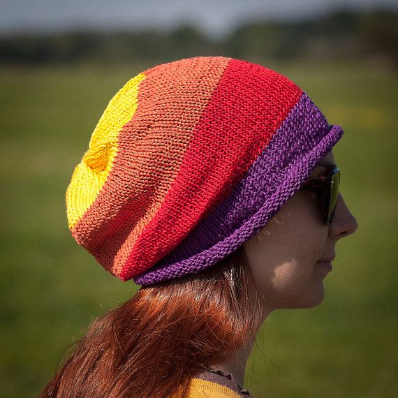 Yellow Orange Red Violet Striped Slouchy Beanie Hat by RUKAMIshop
