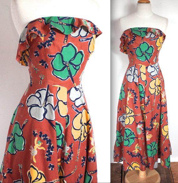 SELTENEN Jahrgang 1940 Neuheit Drucken tropischen hawaiian Auburn Kleid! Dieses Kleid ist solch eine Wucht!! Erstaunliche Grafik von tropischen