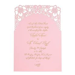 Chartula - A Little Lace Laser Cut Wedding Invitation - Gold on Candy Pink - Luxury invitations by www.chartula.co.uk