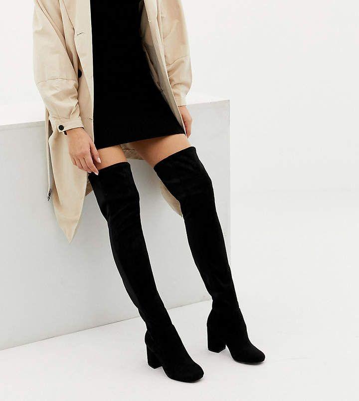 ASOS DESIGN Wide Fit Extra Wide Leg kadi <b>heeled over</b> the <b>knee</b> ...