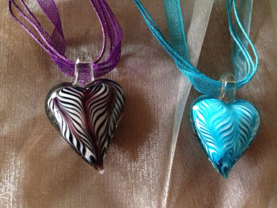 Zebra Stripes to Love DIY Necklace selections Ribbon Glass Stripe Heart Necklace on Etsy, $8.00 CAD