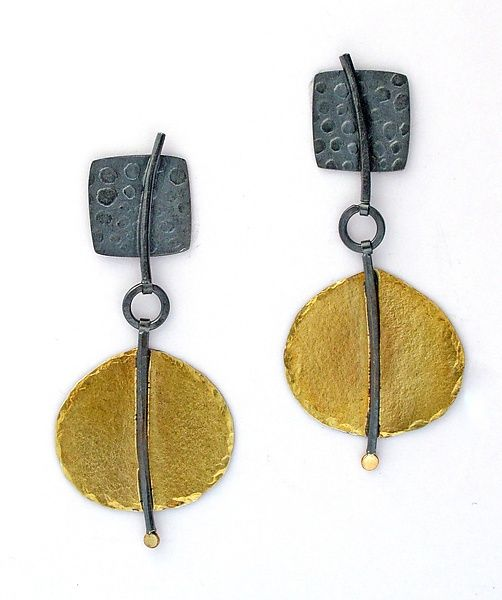 """Swing Earrings""  Gold  Silver Earrings  Created by Sydney Lynch -  Swing earrings; oxidized sterling silver, 18k  22k gold. 1.75 inches long.  $360.00"