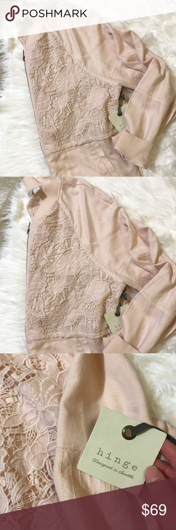 NWT Hinge blush bomber jacket with eyelet detail Pretty light blush colored jacket with an eyelet/crochet detail. Zips up the front. Two pockets. Has a small black spot on the front as shown in up close photo. Hinge Jackets & Coats
