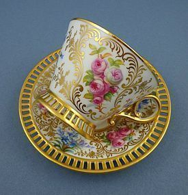 Lovely Antique Cauldon Signed Tea Cup & Saucer