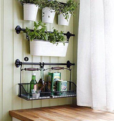 "Ikea 22"" Rail +10 Hooks + 3 Cutlery Caddy Pot + 3 Artificial Plants Kitchen Herb Deco Fintorp"