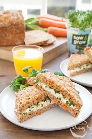 A recipe kids love to help make almost as much as they like to eat. Egg and cress sandwiches with healthy carrot soda bread.