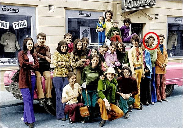 Osama Bin Laden (circled in red) as a teen with cousins + family members while travelling Sweden. When he told reporters he had never been around the world for fun, he lied. He was born a 'Prince' but lost his title and was exiled from his native Saudi Arabia after going into the violent terrorism movement sadly linked to Islam. *Sidenote: His young cousin, pop star Waffa Dufour (she took her mums maiden name after 9/11) was a Playboy centerfold and spotlighted in GQ.