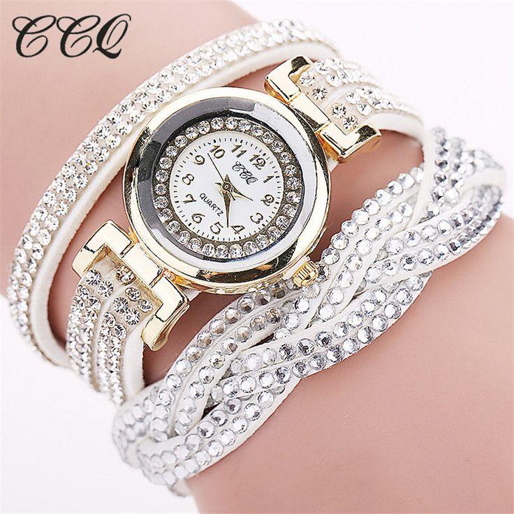 CCQ 2016 New Fashion Casual Quartz Women Rhinestone Watch Braided Leather Bracelet Watch Gift Relogio Feminino Gift 1739