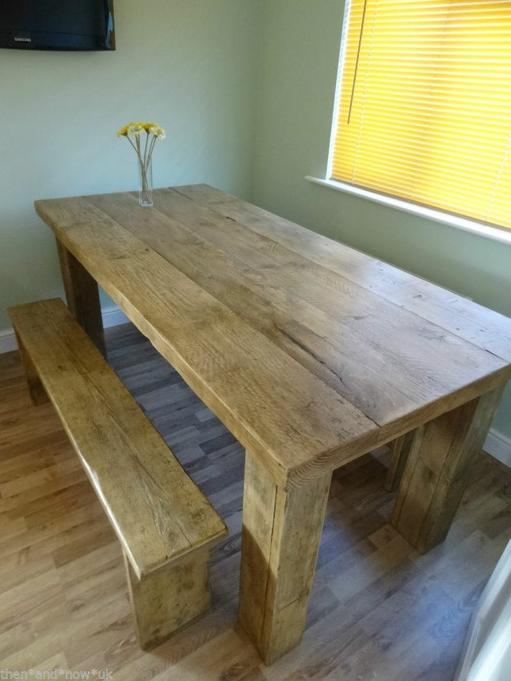 Hand Built Solid Wood Dining Table Reclaimed Scaffold Boards - Solid reclaimed wood dining table