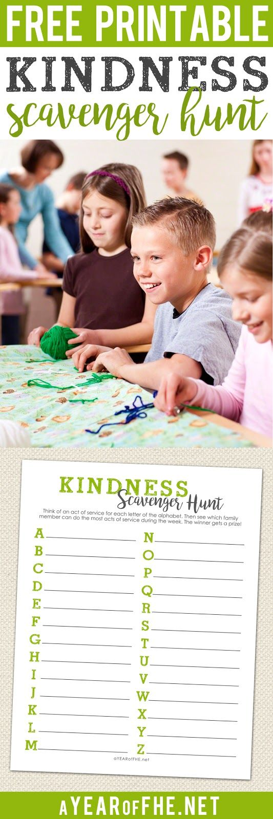 A Year of FHE // This is such a great idea! A family Kindness Scavenger Hunt! Choose a different service activity for each letter of the alphabet. Then post the list somewhere everyone can see.  Family members get a point for each task they complete during the week.  At the end of the week the family member with the most points wins! #service #lds #fhe