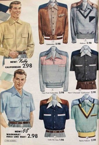 "A mix of sport knits, button downs, and pullover shirts . Sport shirts were made of knit or pre-shrunk cotton and synthetic fabrics that washed and wore easily. ""No iron"" needed was a big selling point, mostly for house wives who were the primary purchasers of men's shirts."