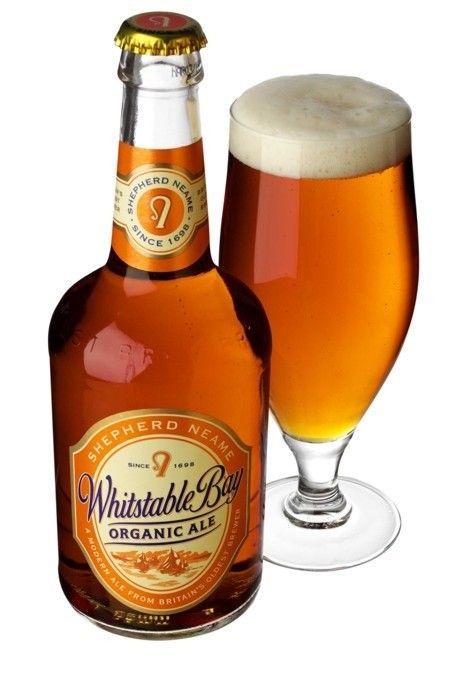 Cerveja Whitstable Bay Organic Ale, estilo Extra Special Bitter/English Pale Ale, produzida por Shepherd Neame, Inglaterra. 4.5% ABV de álcool.