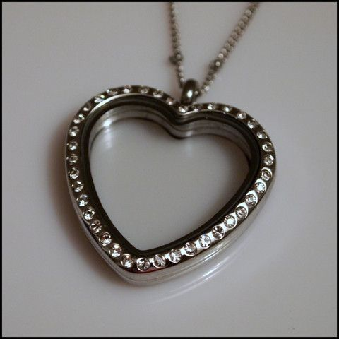 Silver Crystal Heart Living Locket | Latest fashion jewellery from around the world