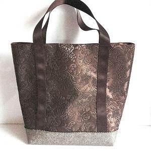 f107d8c726 Sac à main cabas femme style vanessa bruno simili cuir dentelle marron  chocolat chic classe cadeau