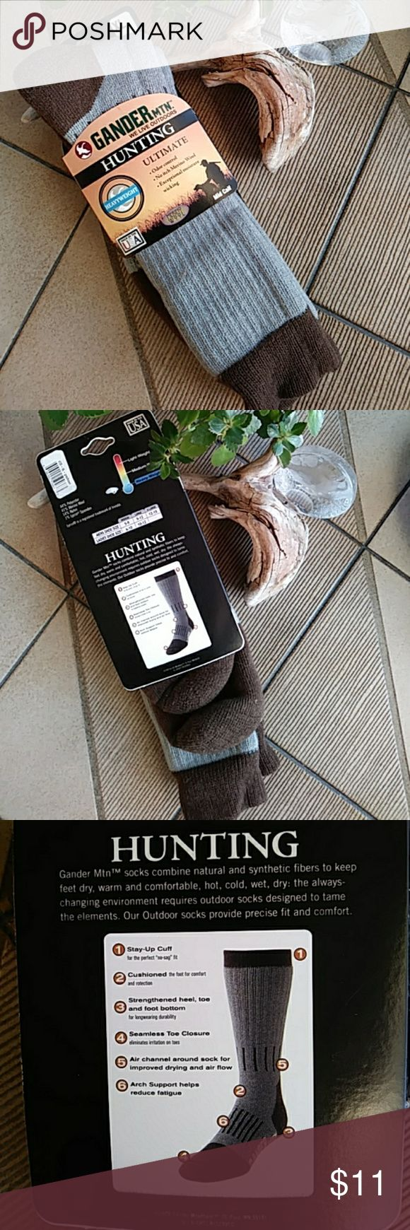 HUNTING SOCKS - GANDER MTN. GANDER MOUNTAIN heavyweight over the calf Merino wool hunting socks. Heavyweight, Odor Control, no itch Merino wool, exceptional moisture wicking. Cushioned for comfort. Strengthened heel, toe, and foot bottom. Over the calf length with stay up cuff. Air channel around sock for improved drying and air flow. Arch support helps reduce fatigue. 44% polyester, 41% Merino wool, 14% nylon, 1% Lycra spandex. Machine washable. Size XL (men's shoe size 12 to 15). GANDER…