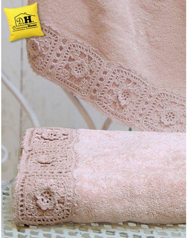 Coppia di asciugamani Shabby Chic Angelica Home & Country Bordo Rose in…