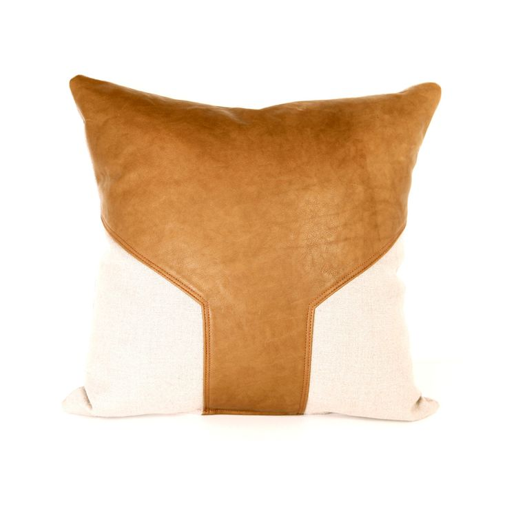 Linen and Leather Pillow Cover | dotandbo.com