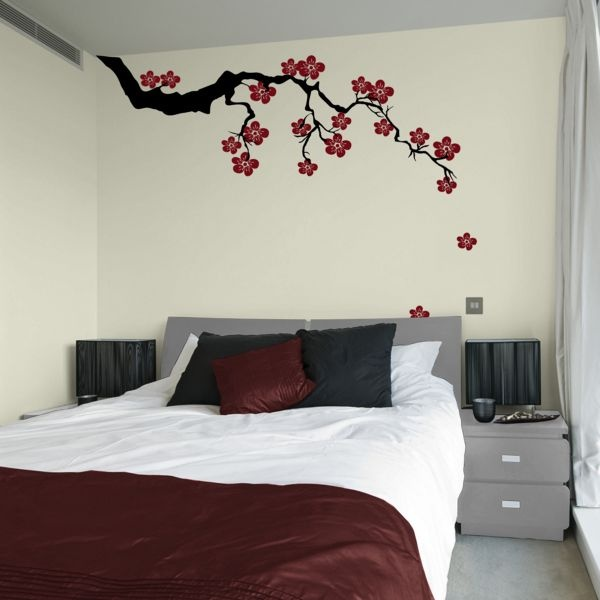 Place A Relaxing Graphic Accent On The Wall In Your Bedroom With An Exotic  Sakura Branch With Blossoms Wall Decal From Dali Decals.