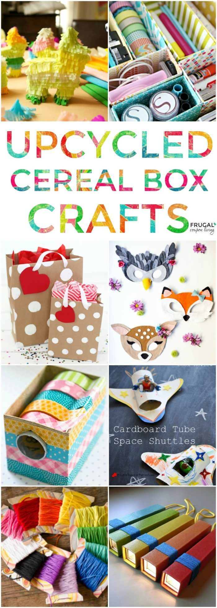 We found some of the most creative upcycled cereal box crafts. Ideas and projects for the entire family. From the most experienced crafter to someone just looking to create some raining day fun! #cerealbox #upcycledcrafts #crafts #recycled #crafting #craftsforkids #upcycled