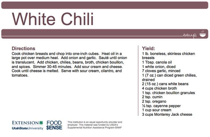 The Skinny on Fats // White Bean Chili #eatwellutah #utahfoodsense #foodsensecreates #createasoup #usuextension