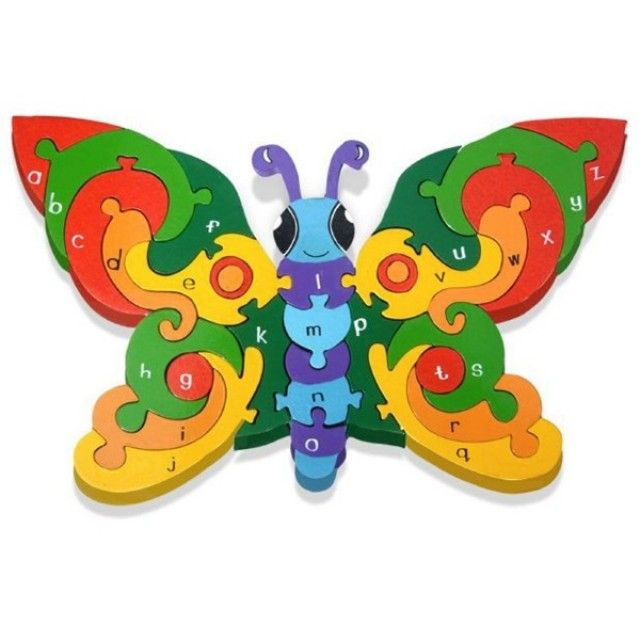 Butterfly Alphabet: Handcrafted Traditional Wooden Puzzle from Alphabet Jigsaws. Learn the alphabet with this fun interactive toy.