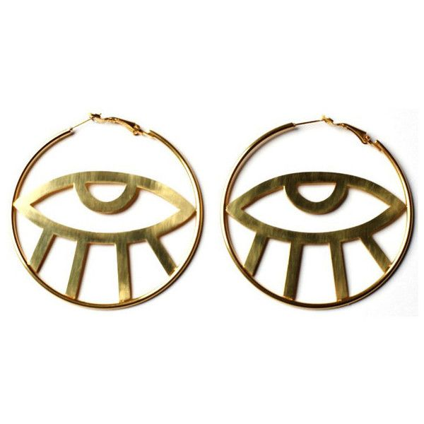 Third Eye Hoop Earrings (197190 PYG) ❤ liked on Polyvore featuring jewelry, earrings, fillers, earring jewelry, clear crystal jewelry, hoop earrings, clear earrings and clear jewelry