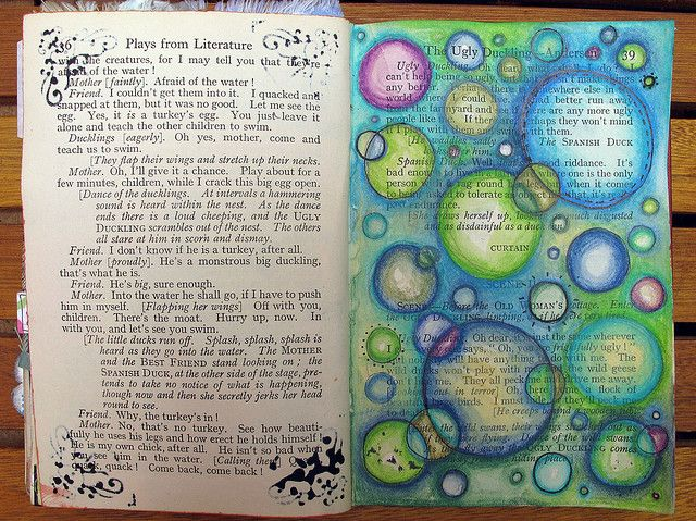 Altered book art journal page of circles.  Would work well as a Bible journal page too!