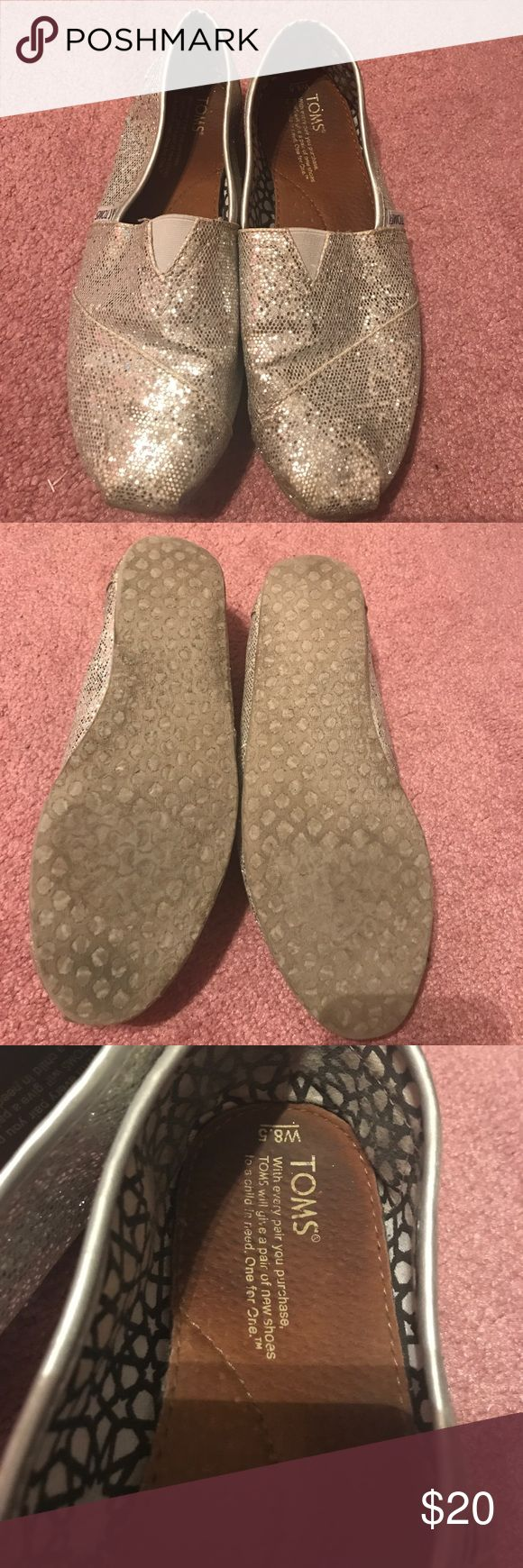 Silver glitter toms Barely worn, great condition! Toms Shoes Flats & Loafers