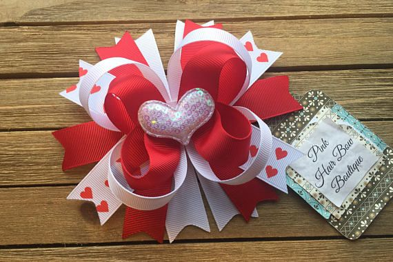 Valentine's Day boutique stacked hair bow  Beautiful 5